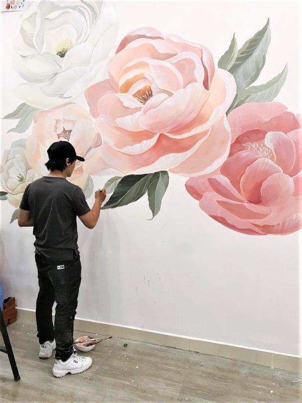 tranh vẽ tường nghệ thuật trang trí quán cafe