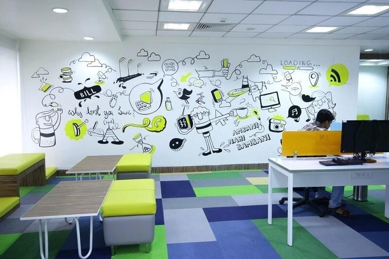vẽ tranh tường văn phòng đẹp
