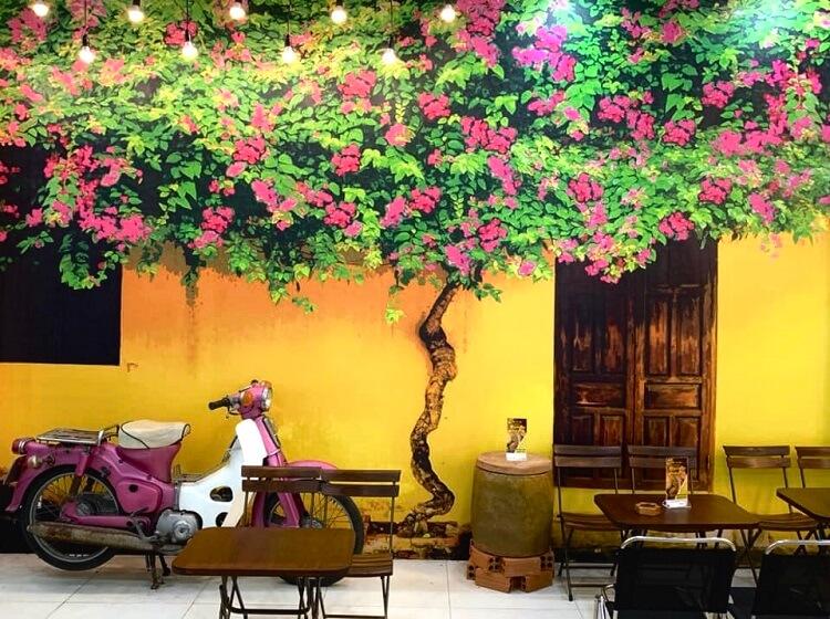 trang trí quán cafe sân vườn