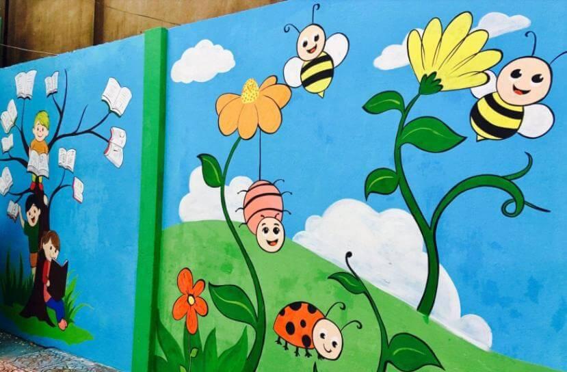 ve tranh tuong mam non vẽ tranh tường Mỹ Thuật Fly Art