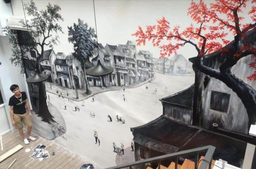 ve tranh tuong quan cafe vẽ tranh tường Mỹ Thuật Fly Art